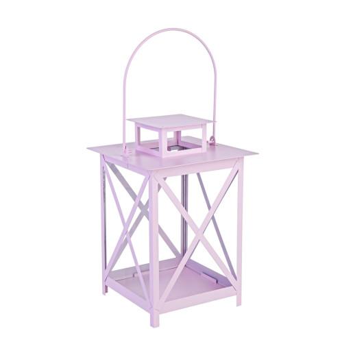 Felinar metal sticla roz Flaies ø 17 cm x 25 h