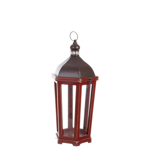 Felinar metal lemn sticla rosu maro 28 cm x 25 cm x 60 h