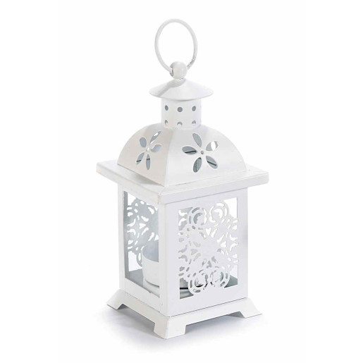 Felinar metal sticla alb cm 7 cm x 7 cm x 16 H