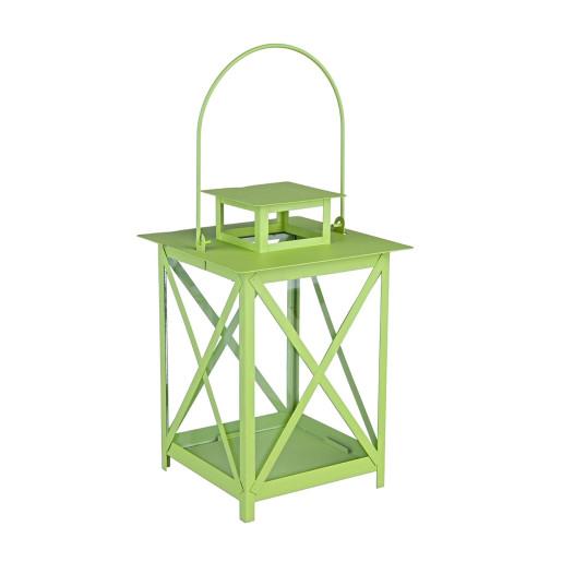 Felinar metal sticla verde Flaies ø 17 cm x 25 h