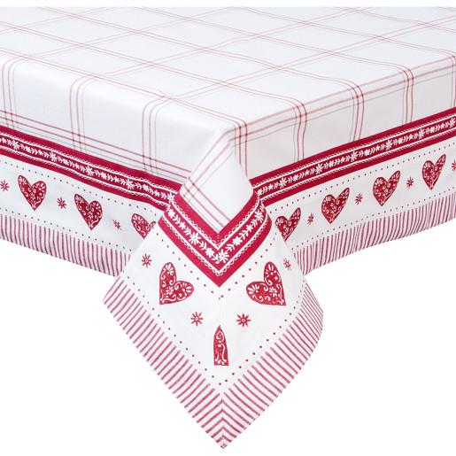 Fata de masa bumbac alb rosu Cuore 150 cm x 250 cm