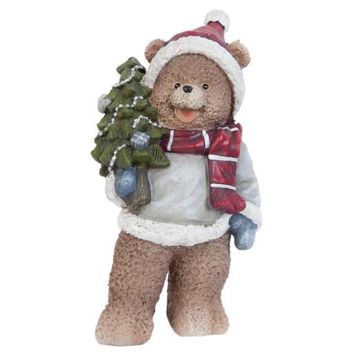 Figurina Ursulet cu brad 10x20 cm