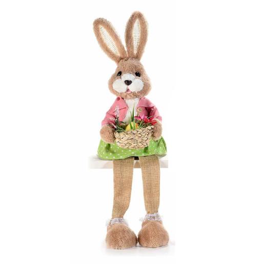 Figurina Iepuras Paste Girl cu picioare textil fibre naturale 17 cm x 53 h
