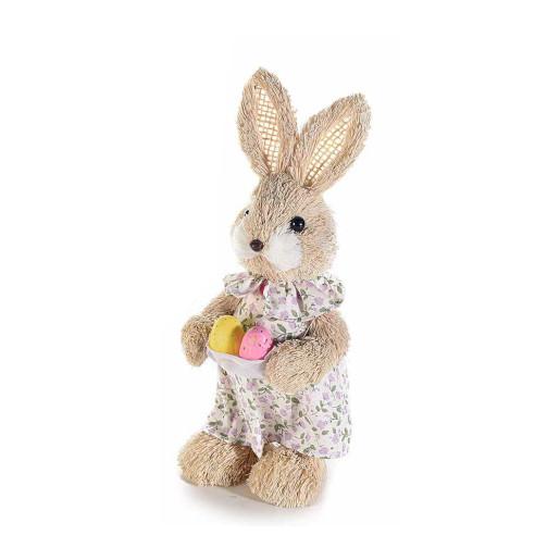 Figurina Iepuras Paste Girl rochita floricele textil fibre naturale cm 9 x 22 H