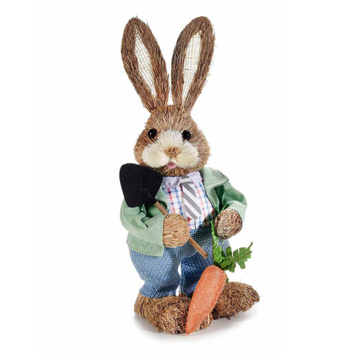 Figurina Iepuras Paste Boy cu lopatica textil fibre naturale cm 17 cm x 39 h