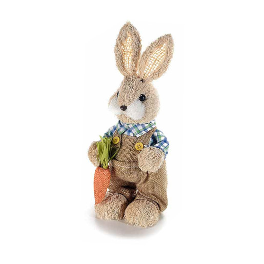 Figurina Iepuras Paste Boy cu salopeta maro textil fibre naturale 9 x 22 h