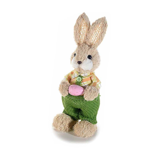 Figurina Iepuras Paste Boy cu salopeta verde textil fibre naturale 9 cm x 22 h