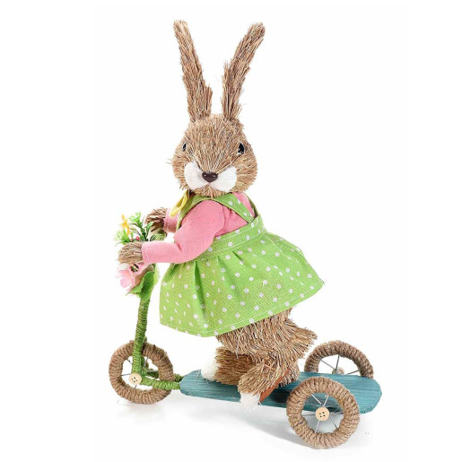 Figurina Iepuras Paste fibre naturale cu bicicleta Girl 25 cm x 12 cm x 35 h