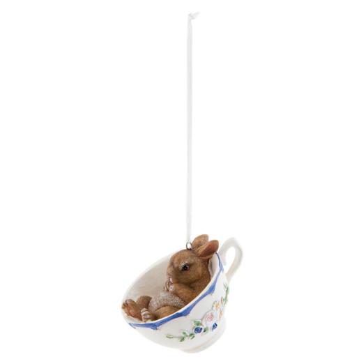 Figurina Iepuras Paste in ceasca suspendabila polirasina 9 cm x 7 h
