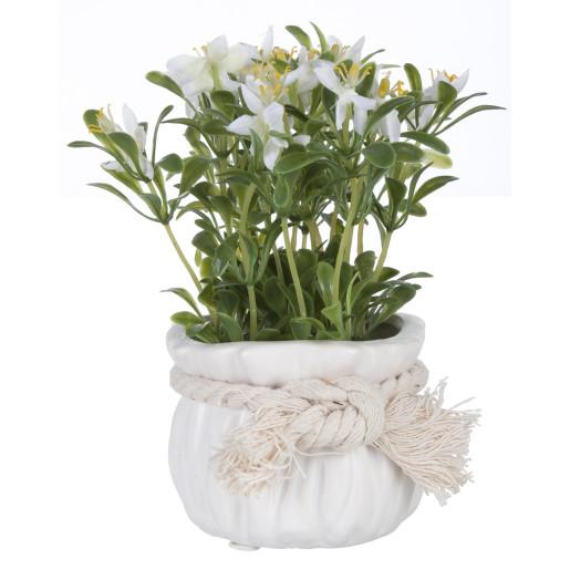 Flori artificiale albe in ghiveci ceramica alba Ø 9 cm x 17 h