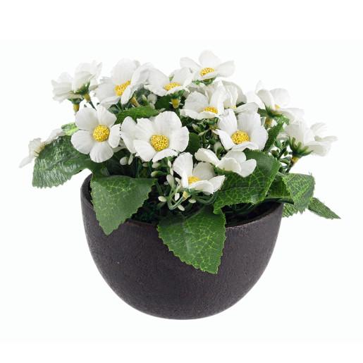 Flori artificiale albe in ghiveci Ø8x16h