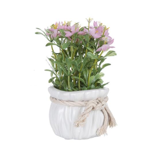 Flori artificiale roz in ghiveci ceramica alba Ø 9 cm x 17 h