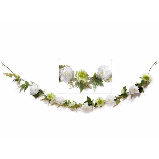 Ghirlanda flori artificiale peonia albe cm 230 H