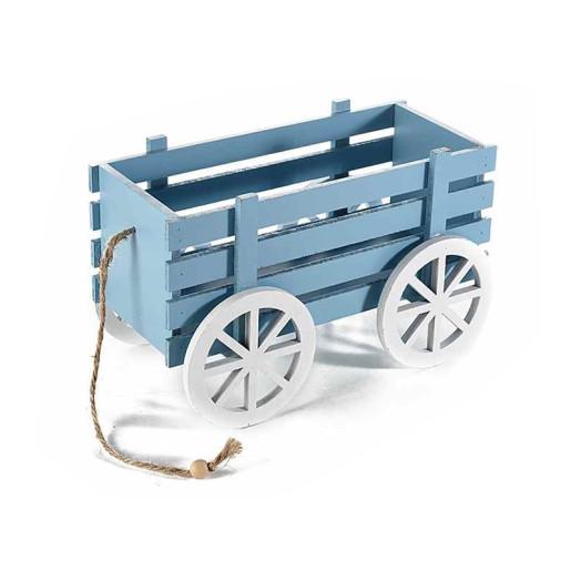 Carucior decorativ lemn albastru cm 24 x 13 cm x 15 H