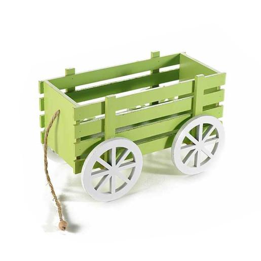 Carucior decorativ lemn verde 24 cm x 13 cm x 15 h