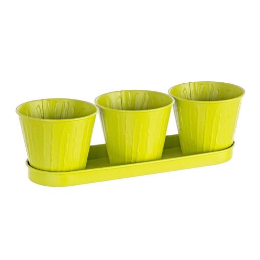 Ghiveci metal verde pentru flori triplu 36 cm x 12 cm x 10 h