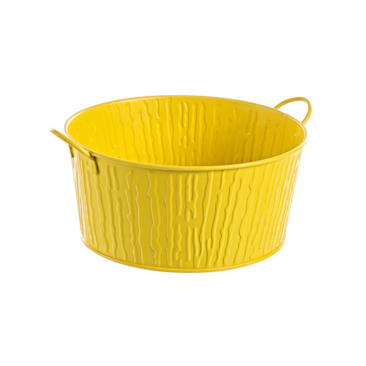 Ghiveci pentru flori metal galben Ø 26 cm x 12 h