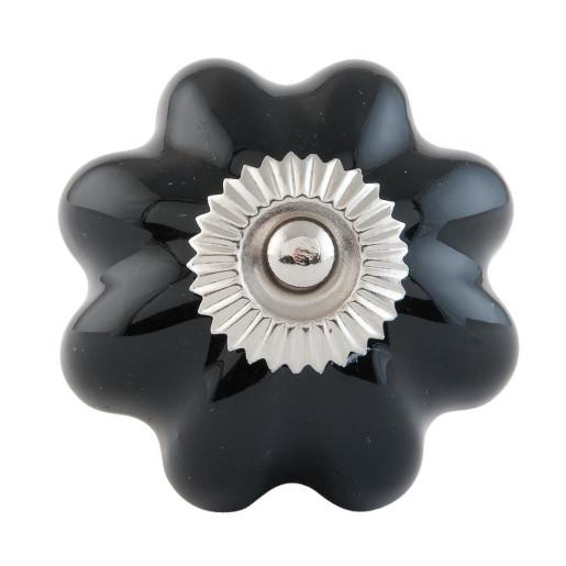 Buton mobila din fier si ceramica neagra Ø 4 cm