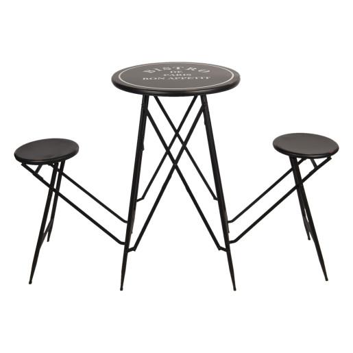 Masa cu scaune pliabile din fier negru alb Picnic 61 cm x 61 cm x 101 h