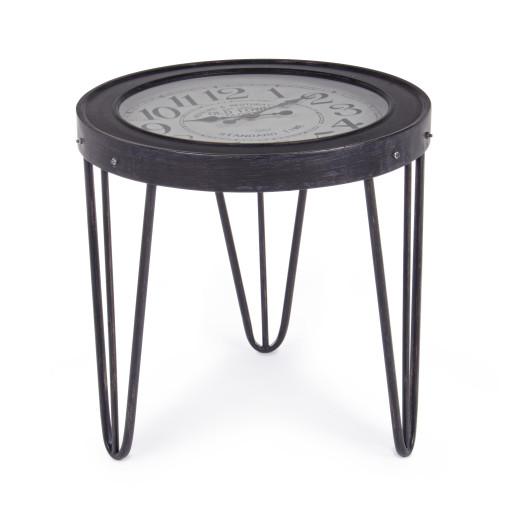 Masuta cafea cu ceas fier forjat negru Ø60 cm x 56h