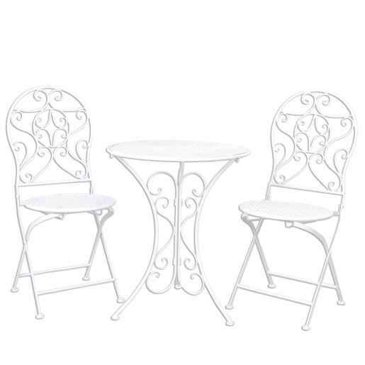 Set mobilier gradina 2 scaune pliabile si masa fier forjat alb