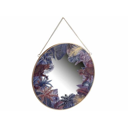 Oglinda de perete rotunda cu rama din metal auriu Jungle Ø 30 cm