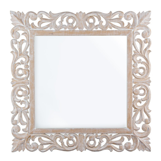 Oglinda decorativa perete cu rama lemn alb patinat Dalila 60 cm x 60 cm