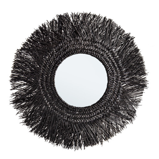 Oglinda decorativa de perete cu rama bambus negru Ilusion 73 cm x 2 cm