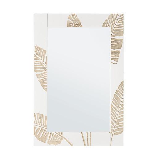 Oglinda decorativa perete cu rama lemn alb crem 54 cm x 76 h
