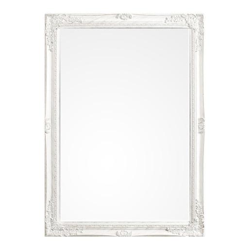 Oglinda decorativa perete cu rama polirasina alb patinat Miro 72 cm x 102 h