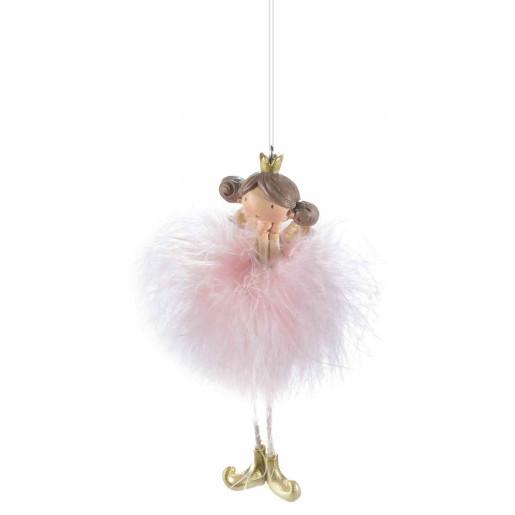 Ornament brad Inger roz 4 cm x 13 h