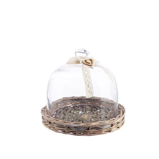 Platou deserturi aperitive cu cupola sticla Ø23 cm x 18h