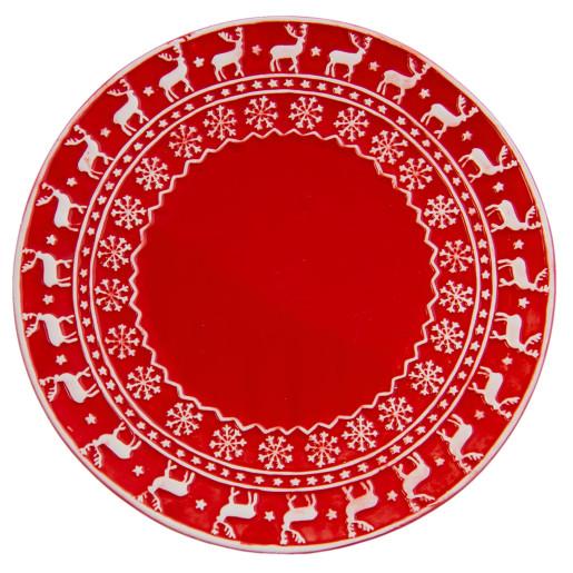 Farfurie ceramica rosu alb model Ren Ø 25 cm