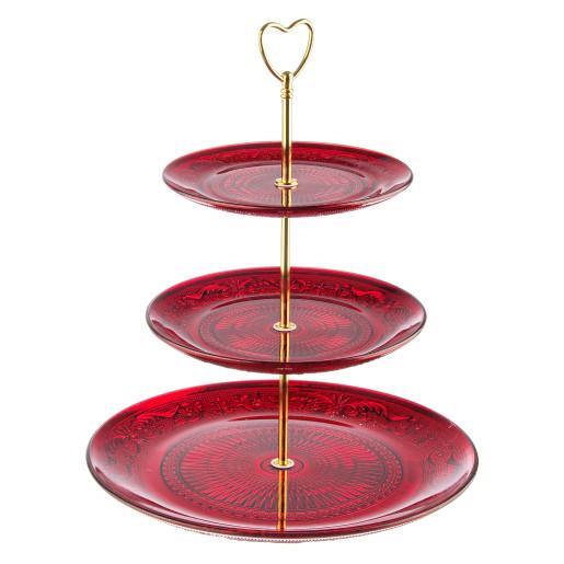 Platou sticla rosu auriu 3 etaje pentru aperitive deserturi Ø29 Ø20 Ø18