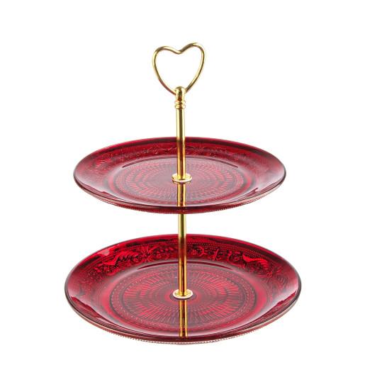 Platou sticla rosu auriu 2 etaje pentru aperitive deserturi Ø20 Ø18