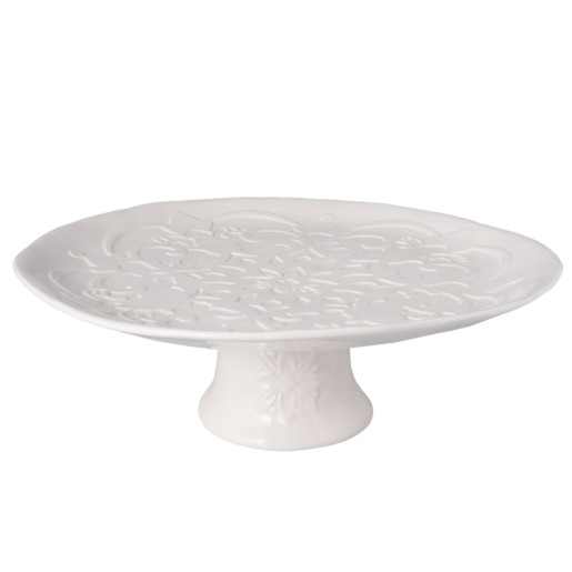 Platou ceramica crem cu picior Ø 33 cm x 11 cm