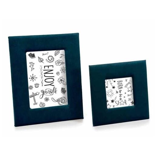 Set 2 rame foto de masa din catifea albastra 21 cm x 26 h