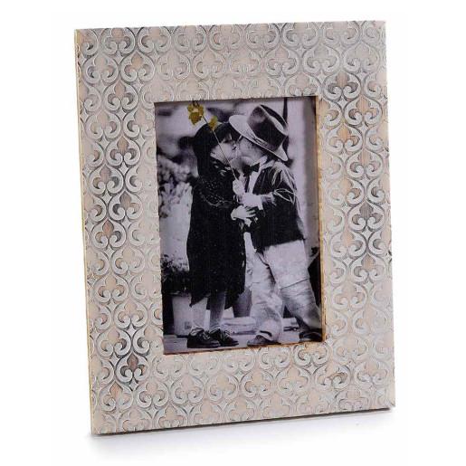 Rama foto de masa lemn alb antichizat cm 15 x 19 H