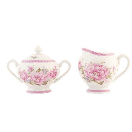 Set latiera si zaharnita portelan alb roz Roses