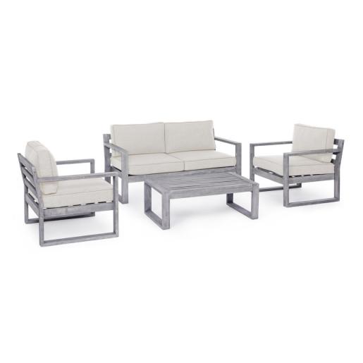 Set mobilier cu 1 canapea 2 fotolii si masuta cafea din lemn si perne gri Haiti 150 cm x 75 cm x 67 h x 30 h1 x 58 h2