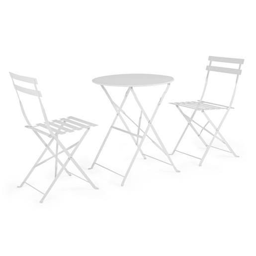 Set 2 scaune pliabile si masa fier forjat alb Wissant