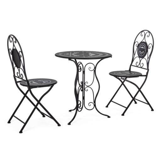 Set 2 scaune pliabile si masa fier forjat negru Bistrot