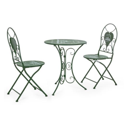 Set 2 scaune pliabile si masa fier forjat verde Bistrot