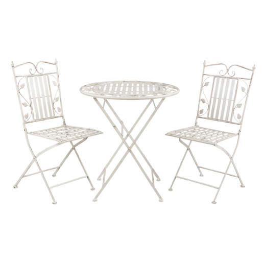 Set 2 scaune pliabile si masa fier forjat alb patinat Leaves