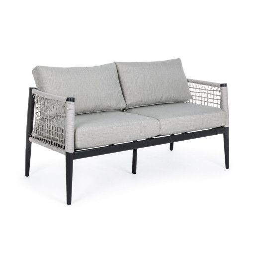 Canapea 2 locuri cu cadru din fier negru si perne textil gri Calypso 137 cm x 71 cm x 80 h