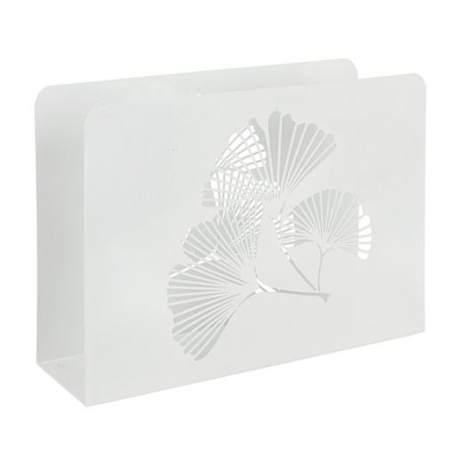 Suport reviste metal alb Ginkgo 35 cm x 10 cm x 26 h