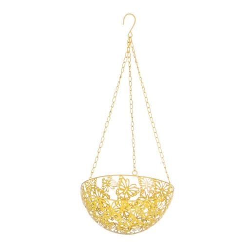 Suport ghiveci flori suspendabil metal galben 25 cm x 57H