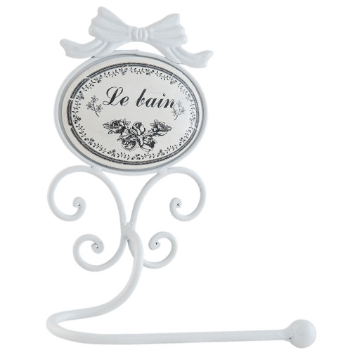 Suport fier forjat alb hartie igienica Le Bain 19x13x26 cm