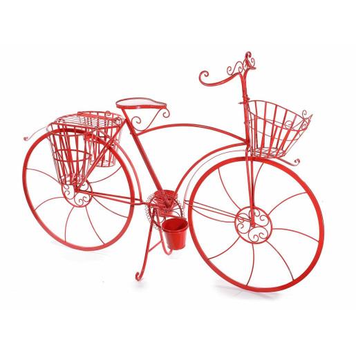 Suport flori cu 5 suporturi ghiveci metal rosu model bicicleta cm 155 cm x 49 cm x 105 H
