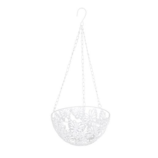 Suport ghiveci flori suspendabil metal alb 20 cm x 20 cm x 46 h